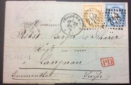 PL146-1 Saône Et Loire Chalon Sur Saône «PD» Vers Suisse T59-60 Passe Verso Lettre Gault - Marcophilie (Lettres)