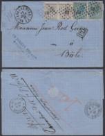 BELGIQUE COB 17 X2+18x2 SUR LETTRE 12/01/1867 EN DOUBLE PORT DE BRUXELLES VERS LE SUISSE (DD) DC-1986 - 1865-1866 Profil Gauche