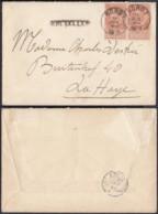 BELGIQUE COB 57 EN PAIRE OBL AMBULANT NORD 1 +GRIFFE BRUXELLES 19/07/1893 VERS LA HAYE (DD) DC-1990 - 1893-1900 Thin Beard