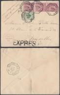 BELGIQUE COB 45+46 X3 SUR LETTRE EN EXPRES DE BRUXELLES 04/07/1889 VERS BRUXELLES (DD) DC-1991 - 1884-1891 Léopold II