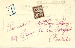 1916- C P A De Grande Bretagne Affr. 1 /2 Penny  Pour Paris TAXEE 10 C Oblit. Losange Avec Ancre - Lettres Taxées