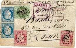 1875- Petite Env.  CHARGE V D 612 F. De Lyon Affr. N° 57 X 2 + Paire N°60 + 53 Descriptif Rouge Au Recto - 1849-1876: Période Classique