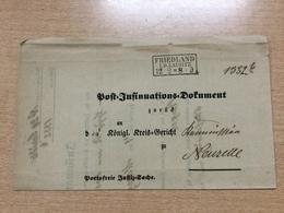 K6 Deutschland 1865 Post-Insinuations-Dokument Vorladung Von Friedland Nach Neuzelle - Deutschland