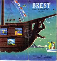 Dépliant Guide Brest Vieux Port Militaire Bretagne Finistère Centre De Tourisme 22 X 10,5, 6 Feuillets Recto Verso - Tourisme