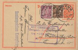 Postreiter [P141] 7.2.1922 Kempten Allgäu  (Kreisstempel) Fernkarte 2. TP - N. Karlsruhe Bahninspektion - Deutschland