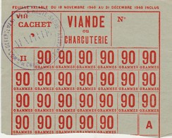 Ravitaillement Rationnement  / Carte De Viande Charcuterie / 1940 / Mairie Courtesoult 70 - 1939-45