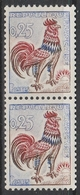 1331b 0.25f. COQ N° ROUGE Au VERSO Tenant à Normal - 1962-65 Cock Of Decaris