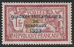 N° 182 CONGRES PHILATELIQUE DE BORDEAUX 1923 * Signé Calves Petites Adhérences - Francia