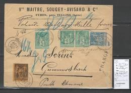 Lettre Chargée Type SAGE - Yvert 99 - 75 Centimes Pour La PRUSSE - ALLEMAGNE - 1896 - Poststempel (Briefe)
