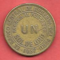 1 SOL DE ORO , PEROU , Bronze , 1957 , N° KM # 222 - Pérou