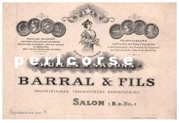 13  Salon De Provence  Huile Et  Savons Baral Et Fils  (carte De Visite ) - Salon De Provence