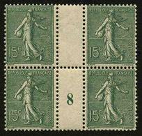FRANCE - YT 130c ** - SEMEUSE LIGNEE 15c Type IV Papier GC - BLOC DE 4 TIMBRES NEUFS ** AVEC MILLESIME 8 (1918) - Millésimes