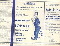 Ciné  Bioscoop Programma Cinema Capitole - Savoy - Select - Gent - Film Topaze - Fernandel - Publicité Cinématographique