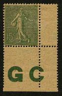 FRANCE - YT 130j * - SEMEUSE LIGNEE 15c Type IV Papier GC - TIMBRE NEUF * AVEC MANCHETTE GC - 1903-60 Semeuse Lignée