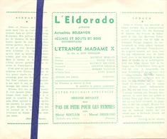 Ciné  Bioscoop Programma Cinema Eldorado - Film L'Etrange Madame X - Publicité Cinématographique