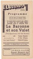 Ciné  Bioscoop Programma Cinema Eldorado Gent - Film La Baronne Et Son Valet - 1945 - Publicité Cinématographique