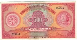 Czechoslovakia, 500 Korun, 1929, SPECIMEN, Narodna Banka Češkoslovenska, Patsto Korun, Serie E, RARE! - Tchécoslovaquie