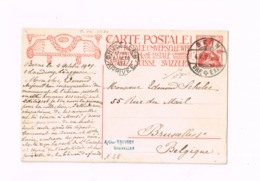 Entier Postal à 10 Centimes.Expédié De Bern à Bruxelles.Inauguration Du Monument Commémoratif De 1909. - Entiers Postaux
