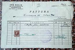 WWII,Sebenico / Šibenik FATTURA / INVOICE / BILL,  Stamp Marka Da Boloo LIRE UNO, 1943. - Italia