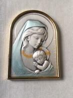 CADRE VIERGE ET ENFANT - RELIGION - Sur Feuille Argent - Religion & Esotérisme