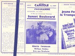 Ciné  Bioscoop Programma Cinema Capitole - Savoy - Select - Gent - Sunset Boulevard - Publicité Cinématographique