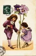 8742 - Illustrateur - En Relief   :  Enfants , La Révérence        Circulée En 1907 - Künstlerkarten