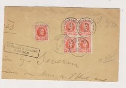 COB 199 Bloc De 4 Sur Fragment De Lettre Par Expres De OOSTENDE 24/06/1925 - 1922-1927 Houyoux