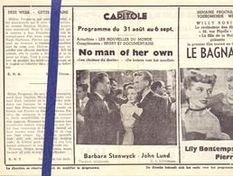 Ciné  Bioscoop Programma Cinema Capitole - Savoy - Select - Gent - Film  No Man Of Her Own - Cinema Advertisement