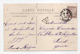 - Carte Postale ESSONNES Pour SENS (Yonne) 31.12.1908 - Taxée 10 C. Brun Type Duval - A ETUDIER - - Segnatasse