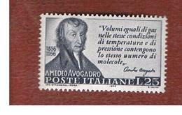 ITALIA REPUBBLICA - UN.  802 -   1956   A. AVOGADRO   - NUOVI ** (MINT) - 1946-60: Nuovi