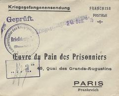 WWI - Enveloppe Imprimée OEUVRE DU PAIN Des PRISONNIERS  En Franchise Pour Paris - Marcophilie (Lettres)