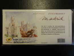 Pap - Capitales Européennes Madrid - Lot De 4 Enveloppes Sous Blister - Tarif International - Ganzsachen