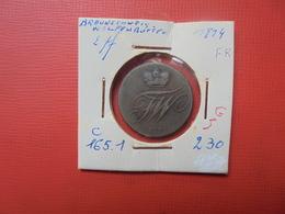 BRAUNSCHWEIG-WOLFENBÜTTEL 2 PFENNIG 1814 (A.6) - Monedas Pequeñas & Otras Subdivisiones