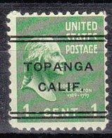 USA Precancel Vorausentwertung Preo, Locals California, Topanga L-1 TS - Vereinigte Staaten