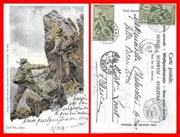 CPA. SUISSE. Illustrateur Ernst PLATZ.  Alpinistes En Cordée...I0477 - Illustratori & Fotografie