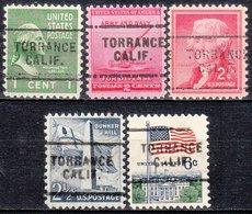 USA Precancel Vorausentwertung Preo, Locals California, Torrance 703, 5 Diff. - Vereinigte Staaten