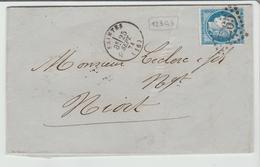 """CHARENTE:  """" SAINTES """" G.C 3265 + CàD Type 16 / LAC De 1874 Pour Niort TB - 1849-1876: Période Classique"""