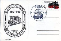 """(DDR-B2) DDR Sonderkarte """"110 Jahre RAW Stendal"""", EF Mi 2629, SSt. 27.10.1983 STENDAL 1 - [6] République Démocratique"""