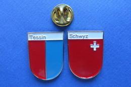 2 Pin's, Ville,Village,TESSIN,SCHWYZ, Blason, Suisse, Wappen, Croix - Villes
