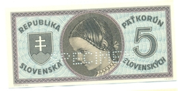 Slovakia 5 Korun 1945 SPECIMEN, Slovaquie,Slovacchia, Slowakei, Pat Korun, Serie A - Slowakije