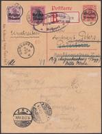 BELGIQUE EP 10c + OCC 21+21 EN RECOMMANDE DE CUREGHEM 09/07/1917 ALLEMAGNE (DD) DC-2011 - Guerre 14-18