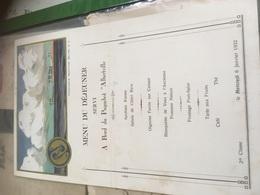 Menu Paquebot Albertville Janvier 1932 - Menu