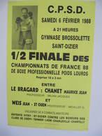 AFFICHE - BOXE - SAINT DIZIER - Maurice CHANET Contre Jean WEIS - 6 FEVRIER 1988 - Affiches