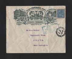 CUBA AMERICA NEW YORK PAQUEBOT TOBACCO WESTERN AUSTRALIA CIGARS 1916 - Cuba