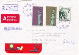 Latvia Registered Cover Sent To Uruguay Riga 13-11-2000 - Latvia