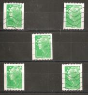 France Oblitéré  2008   N° 4239   Sans Valeur Vert  Sans N° Au Dos   ( 5 Exemplaires ) - 2008-13 Marianne Of Beaujard