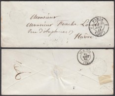 France 1859 -  Paris F 30C 19/8/1859 Vers Havre (5G) DC1894 - Marcophilie (Lettres)