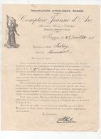 Morteau (25 Doubs) Horlogerie: Lettre à Entête COMPTOIR JEANNE D'ARC  1918 (PPP17041) - Old Professions