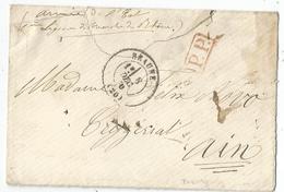 COTE D'OR BEAUNE 8 DEC 1870 LETTRE ARME DE L'EST + PP  ROUGE + VERSO LEGION DE MARCHE DU RHONE - Postmark Collection (Covers)