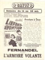 Ciné  Bioscoop Programma Cinema Savoy & Select Gent - Film L' Armoire Volante - Fernandel - Publicité Cinématographique